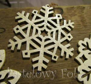 SWIETA choinka-zawieszka 06_ drewniana śnieżka bombka gwiazda brokat zimowa świąteczna srebrny szary_02 2