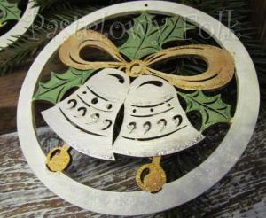 SWIETA choinka-zawieszka 15_ drewniane duze dzwoneczki w kolku brokat zimowa świąteczna biała srebrna złota_01