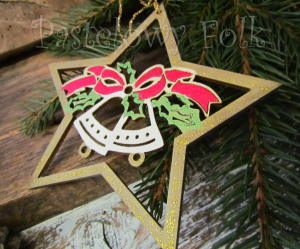 SWIETA choinka-zawieszka 18_ drewniane dzwoneczki w gwiazdce brokat zimowa świąteczna biała czerwona złota_01
