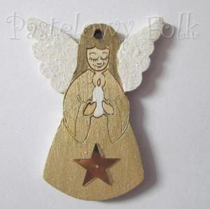 SWIETA choinka-zawieszka 21_ bilecik drewniany mały aniołek ze swieczka brokat zimowa świąteczna biała złota_01