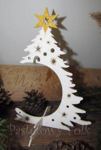 SWIETA-stojak na bombke 01-biała choinka wieszak drewniany świąteczny-01