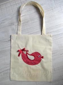 TORBA EKO- 01 - torebka na prezenty świąteczna ekologiczna bawełniana eco na zakupy- czerwony ptaszek aplikacja kokardka_01