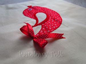 TORBA EKO- 01 - torebka na prezenty świąteczna ekologiczna bawełniana eco na zakupy- czerwony ptaszek aplikacja kokardka_03