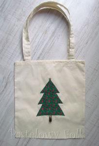 TORBA EKO- 02 - torebka na prezenty świąteczna ekologiczna bawełniana eco na zakupy- zielona choinka gwiazdka złota aplikacja_01