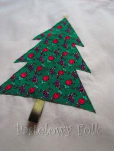 TORBA EKO- 02 - torebka na prezenty świąteczna ekologiczna bawełniana eco na zakupy- zielona choinka gwiazdka złota aplikacja_02