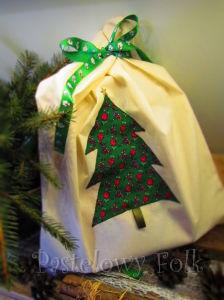 TORBA EKO- 02 - torebka na prezenty świąteczna ekologiczna bawełniana eco na zakupy- zielona choinka gwiazdka złota aplikacja_04