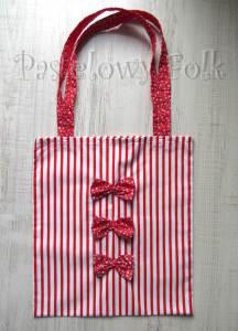 TORBA EKO- 03 - torebka na prezenty świąteczna ekologiczna bawełniana eco na zakupy- białe czerwone paski kwiatuszki kokardki_01