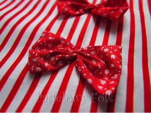 TORBA EKO- 03 - torebka na prezenty świąteczna ekologiczna bawełniana eco na zakupy- białe czerwone paski kwiatuszki kokardki_02