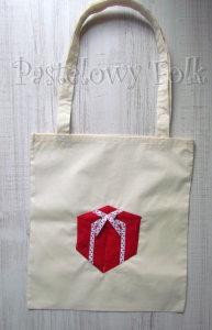 TORBA EKO- 04 - torebka na prezenty świąteczna ekologiczna bawełniana eco na zakupy- czerwony prezent wsiążeczka biała w kropki kokardka_01