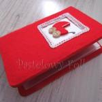Album na zdjęcia czerwony z dziecięcym wózkiem (S)