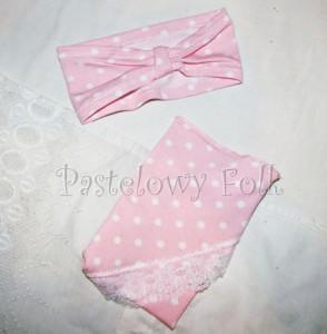dziecko-chusteczka dla dziewczynki 02-chustka opaska różowa pastelowa retro białe kropeczki groszki koronka romantyczna-03