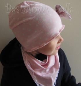 dziecko-czapka 39-dzianinowa dla dziewczynki,  różowa w białe kropki retro kokarda-04