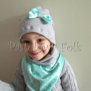 dziecko-czapka dla dziewczynki 12-retro pastelowa szara dzianinowa wiosenna jesienna  czapeczka,  kokardka miętowa w kropki białe-02