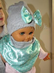 dziecko-czapka dla dziewczynki 13-retro pastelowa szara dzianinowa wiosenna jesienna  czapeczka,  kokardka miętowa w kropki białe dla dziecka-01