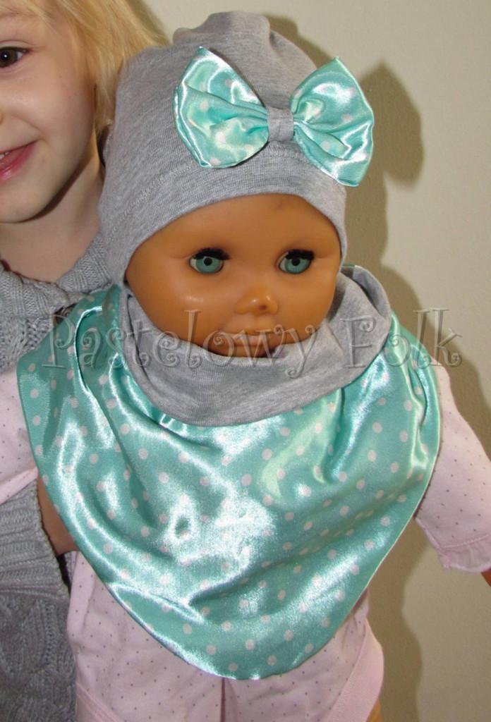 dziecko-czapka dla dziewczynki 13-retro pastelowa szara dzianinowa wiosenna jesienna  czapeczka,  kokardka miętowa w kropki białe dla dziecka-04