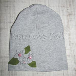 dziecko-czapka dla dziewczynki 14-retro pastelowa szara dzianinowa wiosenna jesienna  czapeczka,  kwiatki kwiat różowy-06