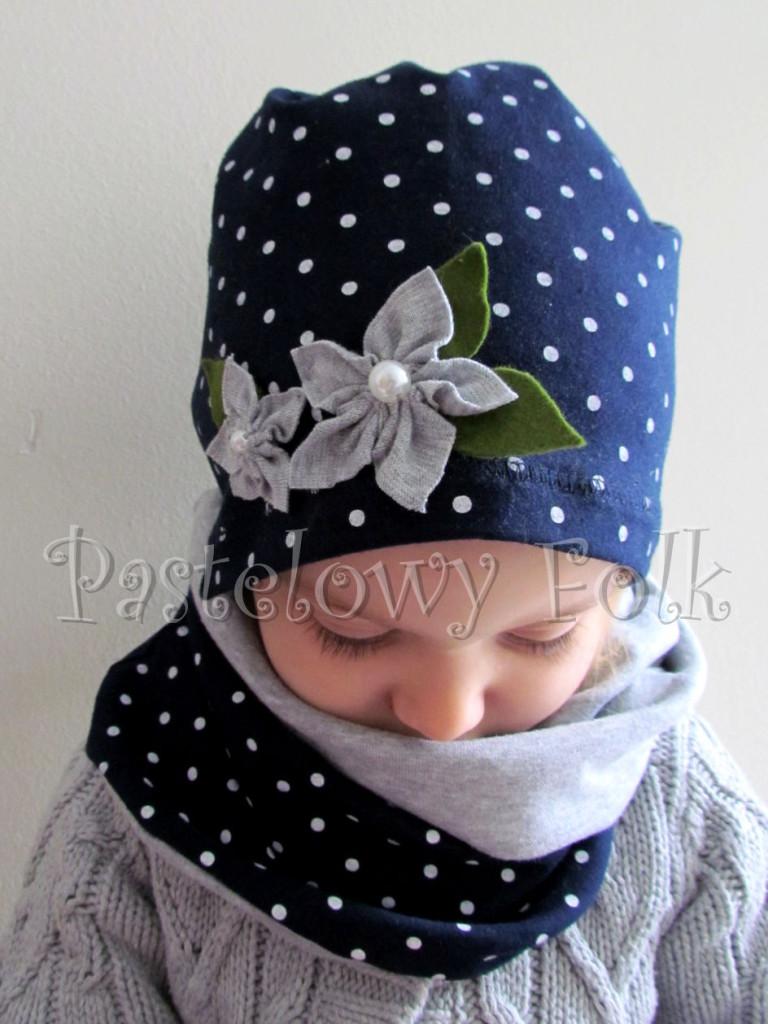 dziecko-czapka dla dziewczynki 17-retro szary granatowy w kropki białe, dzianinowa, komplet komin-01