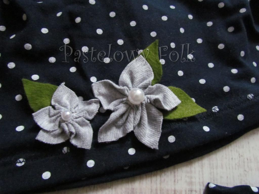 dziecko-czapka dla dziewczynki 17-retro szary granatowy w kropki białe, dzianinowa, komplet komin-04