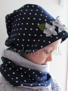 dziecko-komin dla dziewczynki 16-retro szary granatowy w kropki białe, dwustronny, dzianinowy, komplet czapka-01