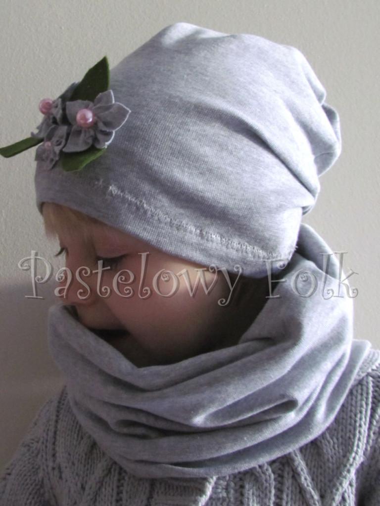 dziecko-komin dla dziewczynki 16-retro szary granatowy w kropki białe, dwustronny, dzianinowy, komplet czapka-04