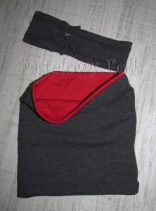 dziecko-komin dla dziewczynki 18-retro grafitowy, czerwony, ciemnoszary dzianinowy -03