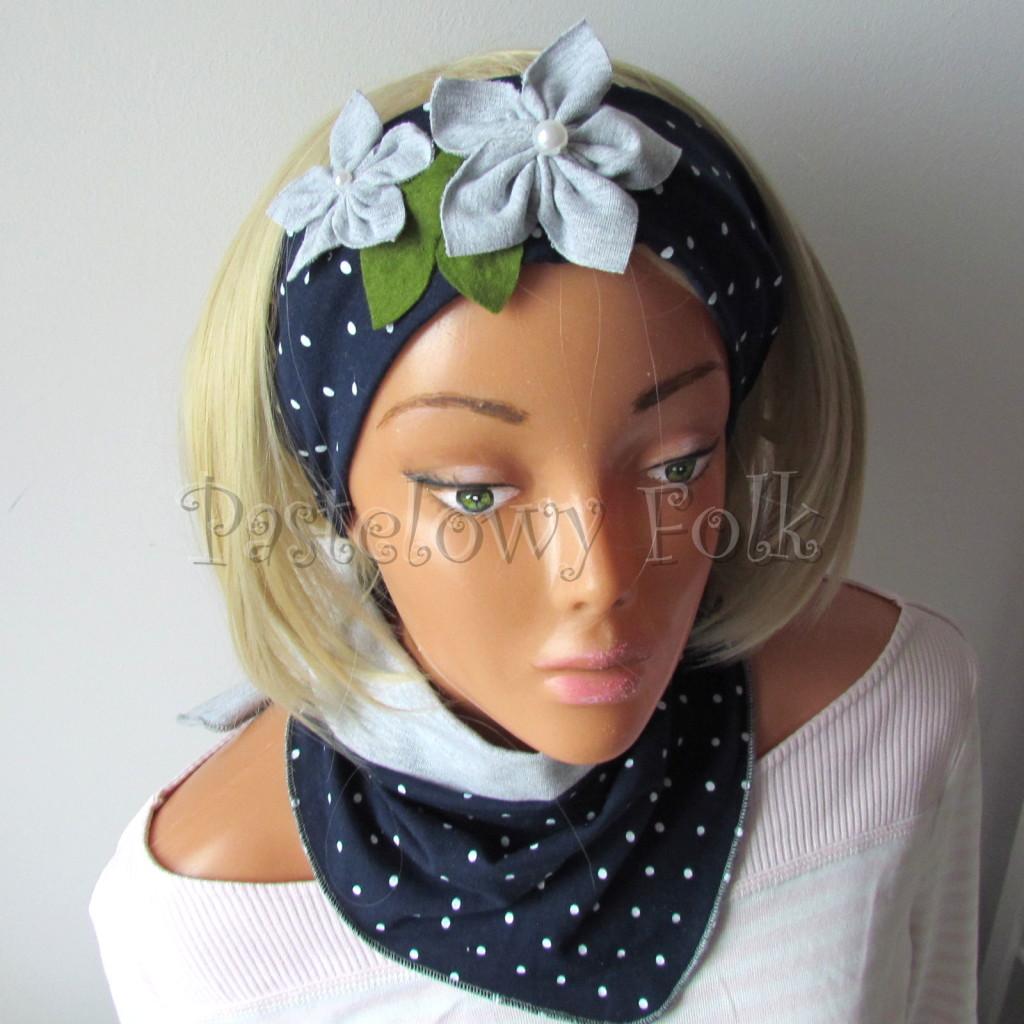 dziecko-opaska 17- dla dziewczynki granatowa retro w białe kropki kropeczki groszki kwiat kwiatki szare, perełki listki-08