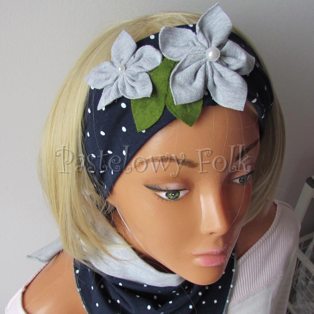 dziecko-opaska 17- dla dziewczynki granatowa retro w białe kropki kropeczki groszki kwiat kwiatki szare, perełki listki-09