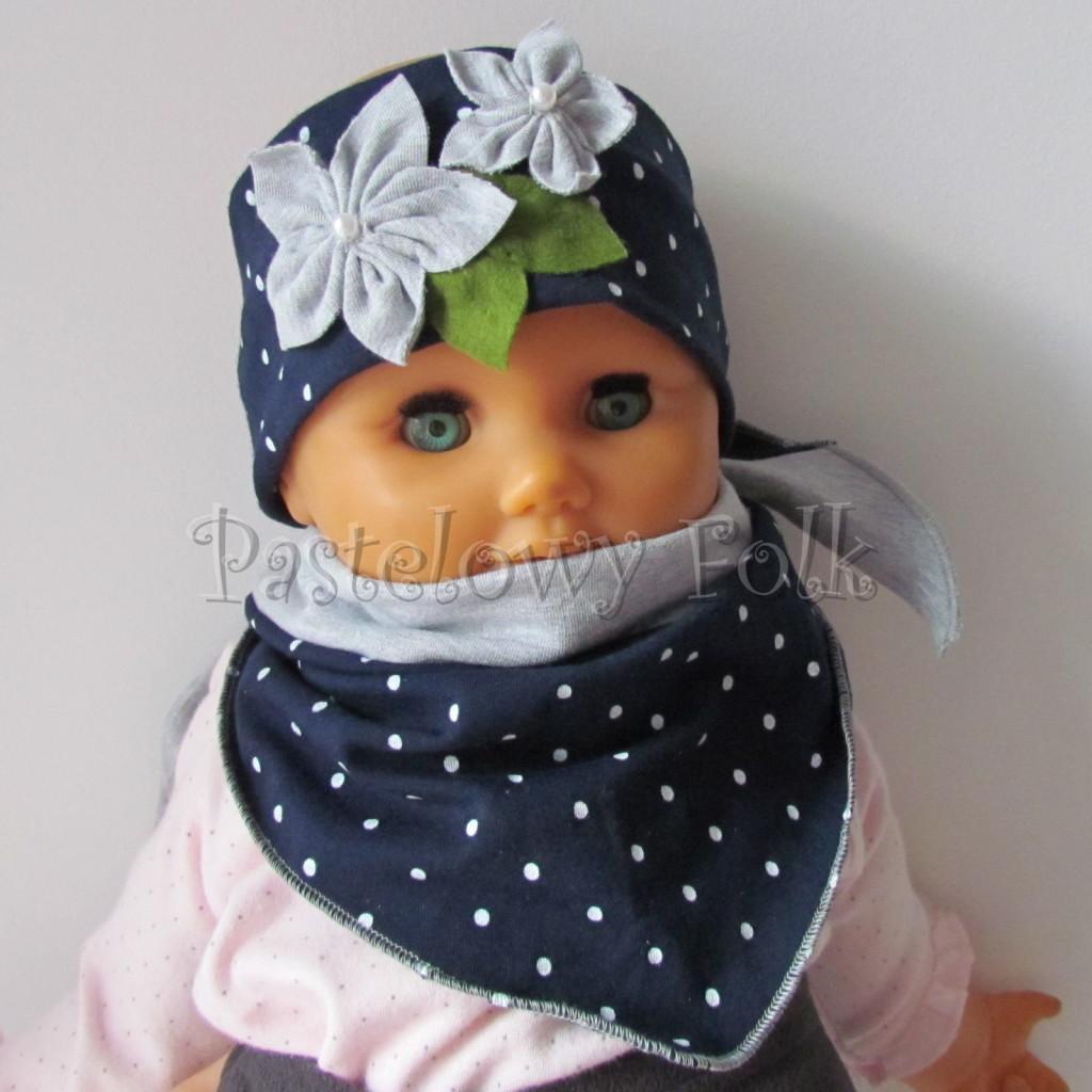 dziecko-opaska 17- dla dziewczynki granatowa retro w białe kropki kropeczki groszki kwiat kwiatki szare, perełki listki-11