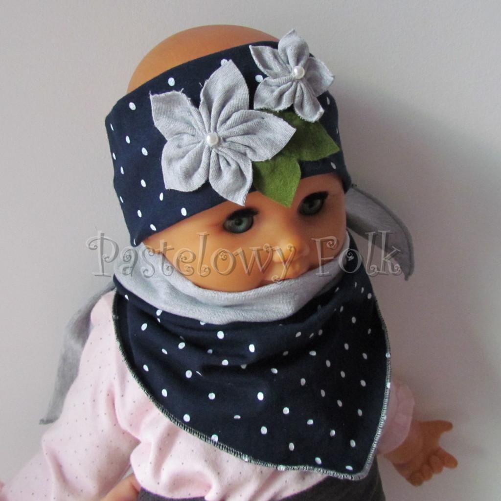 dziecko-opaska 17- dla dziewczynki granatowa retro w białe kropki kropeczki groszki kwiat kwiatki szare, perełki listki-12