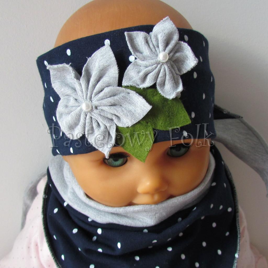 dziecko-opaska 17- dla dziewczynki granatowa retro w białe kropki kropeczki groszki kwiat kwiatki szare, perełki listki-13