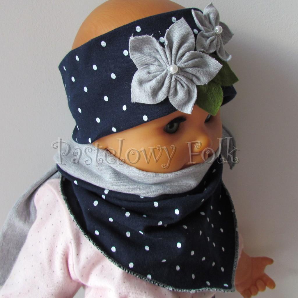 dziecko-opaska 17- dla dziewczynki granatowa retro w białe kropki kropeczki groszki kwiat kwiatki szare, perełki listki-14