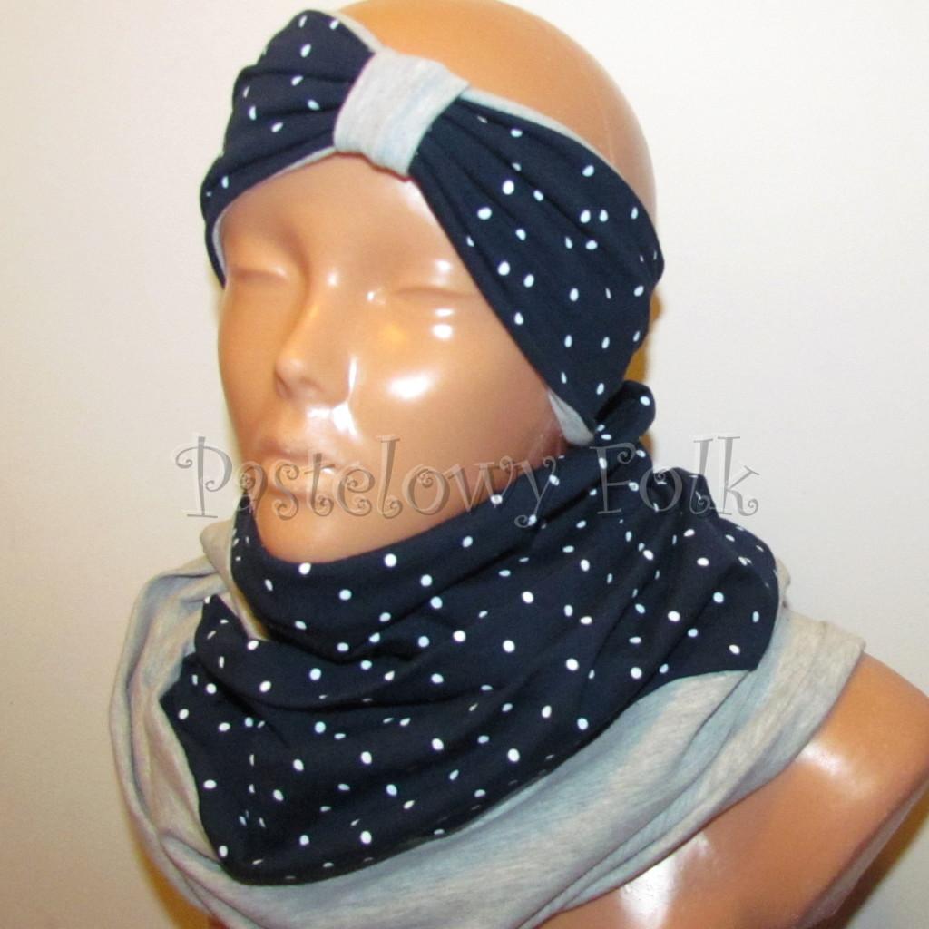 dziecko-opaska 30b- dla kobiety granatowa w białe kropki groszki dzianinowa szara -01