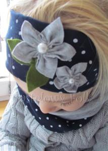 dziecko-opaska dla dziewczynki 17- granatowa retro w białe kropki kropeczki groszki kwiat kwiatki szare, perełki listki-03