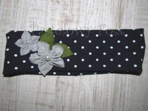 dziecko-opaska dla dziewczynki 17- granatowa retro w białe kropki kropeczki groszki kwiat kwiatki szare, perełki listki-04