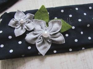 dziecko-opaska dla dziewczynki 17- granatowa retro w białe kropki kropeczki groszki kwiat kwiatki szare, perełki listki-05