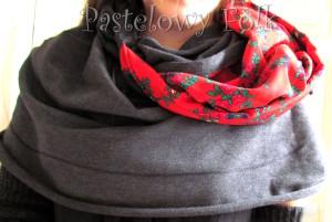 kobieta-komin 01- duży kaptur folk, narzutka, dzianinowy szal, motyw góralski ludowy czerwony szary grafitowy 03