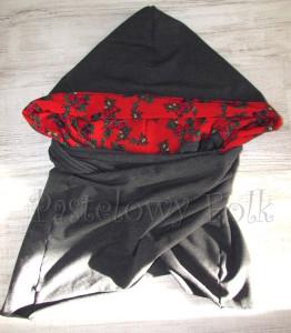 kobieta-komin 01- duży kaptur folk, narzutka, dzianinowy szal, motyw góralski ludowy czerwony szary grafitowy 06