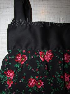 ONA-torebka 10-duża góralska folk folkowa  czarna w różowe różyczki tybet marszczona -03