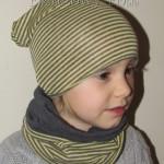 dziecko-czapka 25-beanie dzianinowa dla chłopca dziewczynki, paski żółte szare grafitowe -02