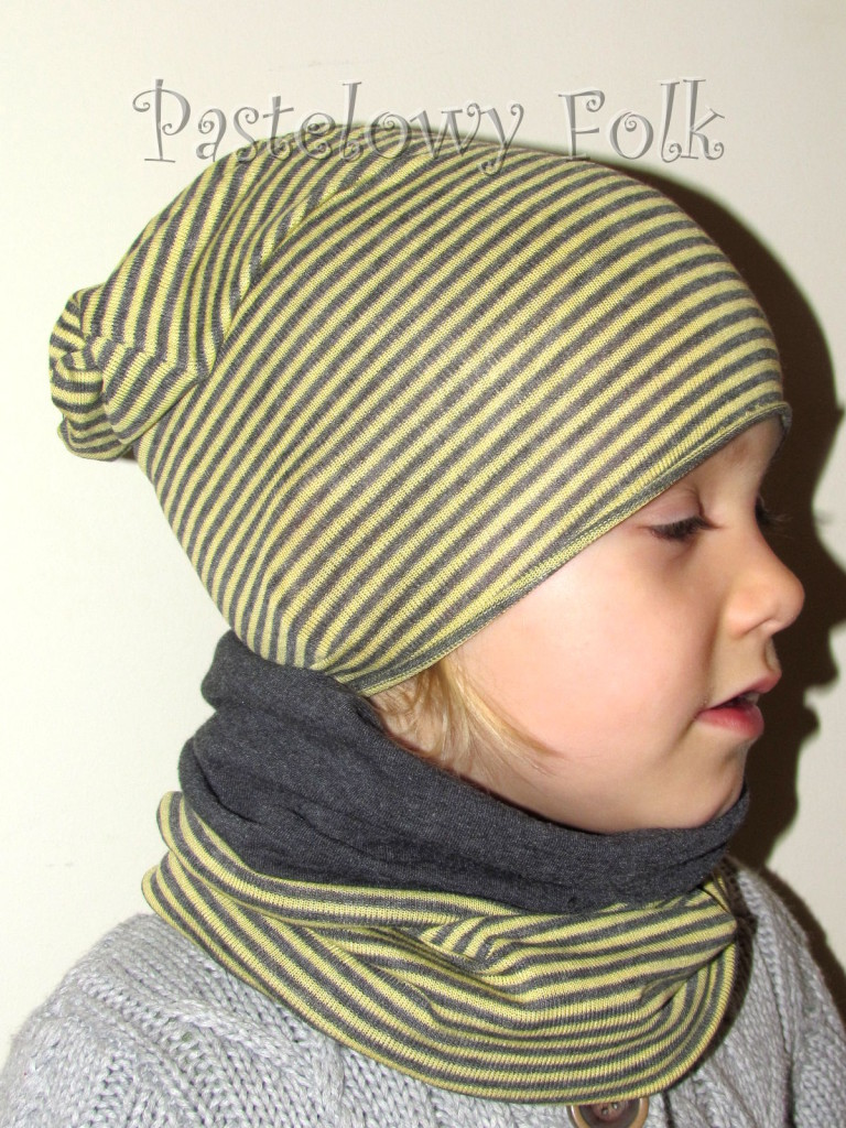 dziecko-czapka 25-beanie dzianinowa dla chłopca dziewczynki, paski żółte szare grafitowe -04