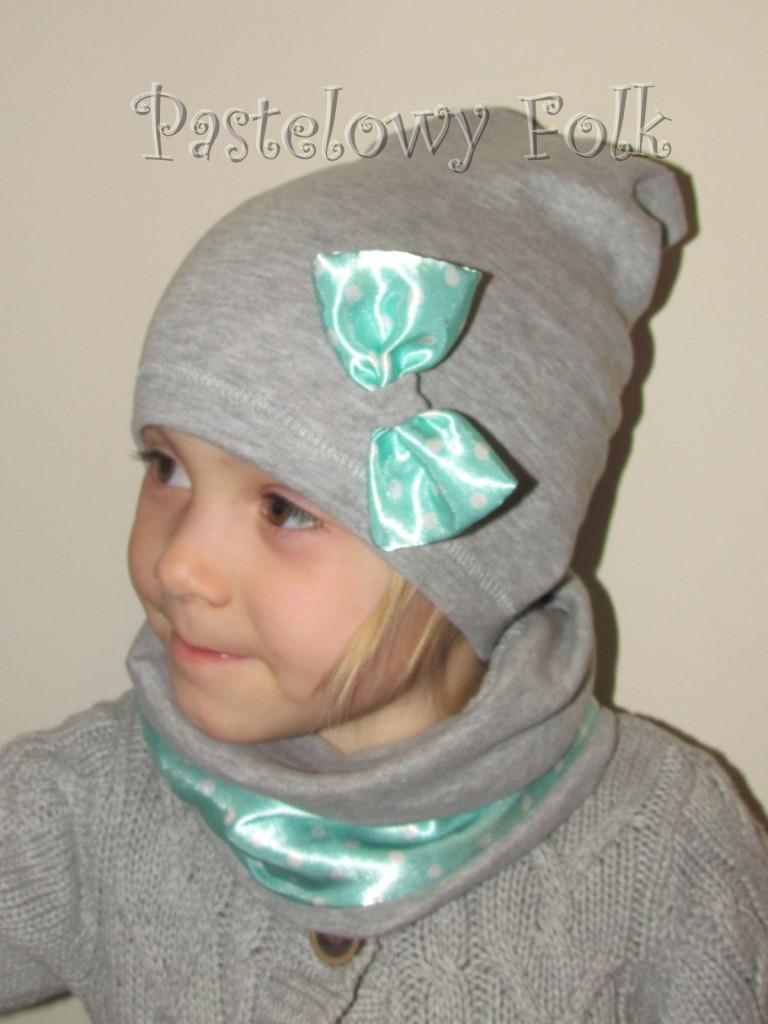 dziecko-czapka dla dziewczynki 22-retro pastelowa szara dzianinowa wiosenna jesienna  czapeczka,  kokardka miętowa w kropki białe-03