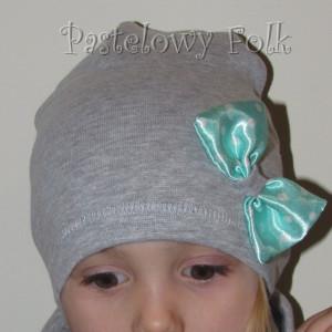dziecko-czapka dla dziewczynki 22-retro pastelowa szara dzianinowa wiosenna jesienna  czapeczka,  kokardka miętowa w kropki białe-04