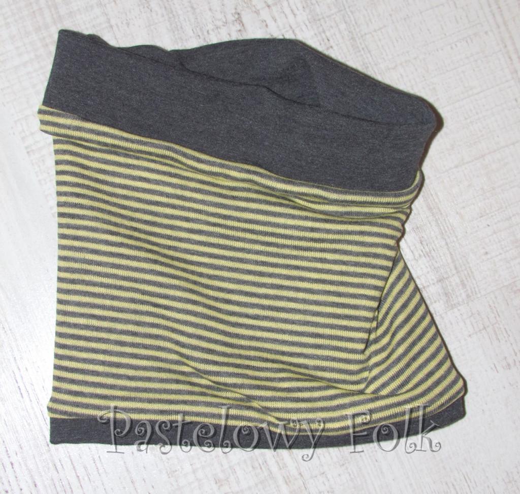 dziecko-komin 26- dzianinowy dwustronny dla chłopca dziewczynki, paski żółte szare grafitowe -01