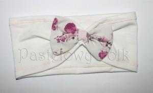 dziecko-opaska dla dziewczynki 10-uszy ecru biała  pastelowa retro kokarda kokardka różowe romantyczne kwiatuszki biały róża tybet zielone listki kokardka granatowa kropki guzik koralik-01