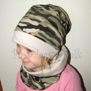 Kopia czapka dla dzieci 36- komin komplet moro wojskowy, chlopiec, dziewczynka _02