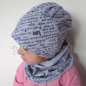 Kopia czapka dla dzieci 47-komin komplet szara dzianina w napisy czarne dziecięca chłopiec dziewczynka przytul mnie love_02