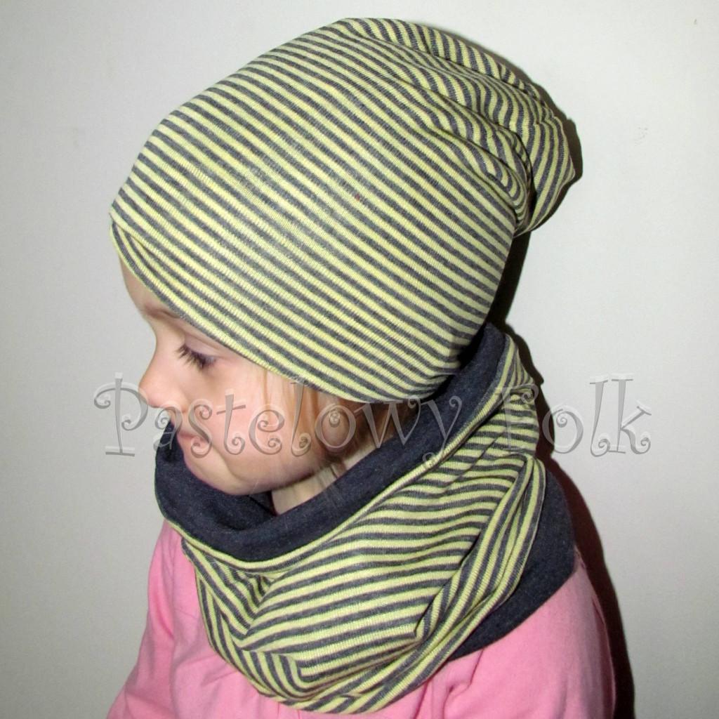 czapka dla dzieci 49-komin komplet szary grafitowy żółte paseczki, chłopiec, dziewczynka dzianina_03