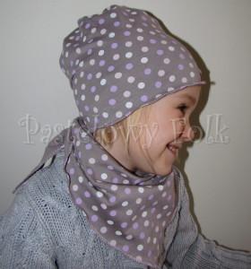 dziecko-chusteczka 12-chustka na głowę pod szyję dzianinowa brązowa beżowa w kropki kropeczki fioletowe, różowe, kremowe-05