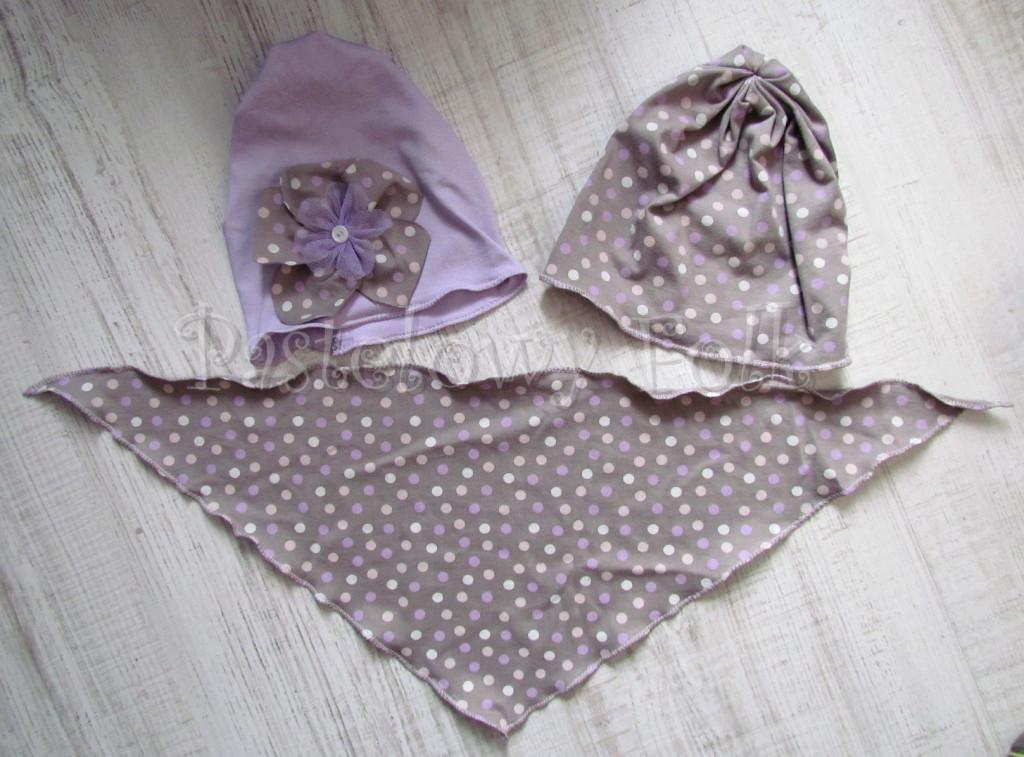 dziecko-chusteczka 12-chustka na głowę pod szyję dzianinowa brązowa beżowa w kropki kropeczki fioletowe, różowe, kremowe-06