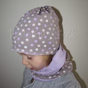 dziecko-czapka 29-beanie dzianinowa dla dziewczynki, beżowa w fioletowe i różowe groszki -04